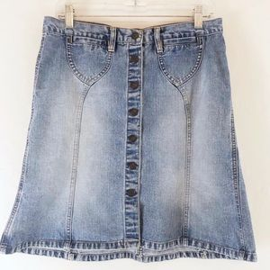 Abercrombie & Fitch Button Front Jean Skirt Sz 4